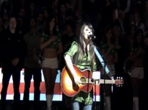Performing the National Anthem for the Boston Celtics